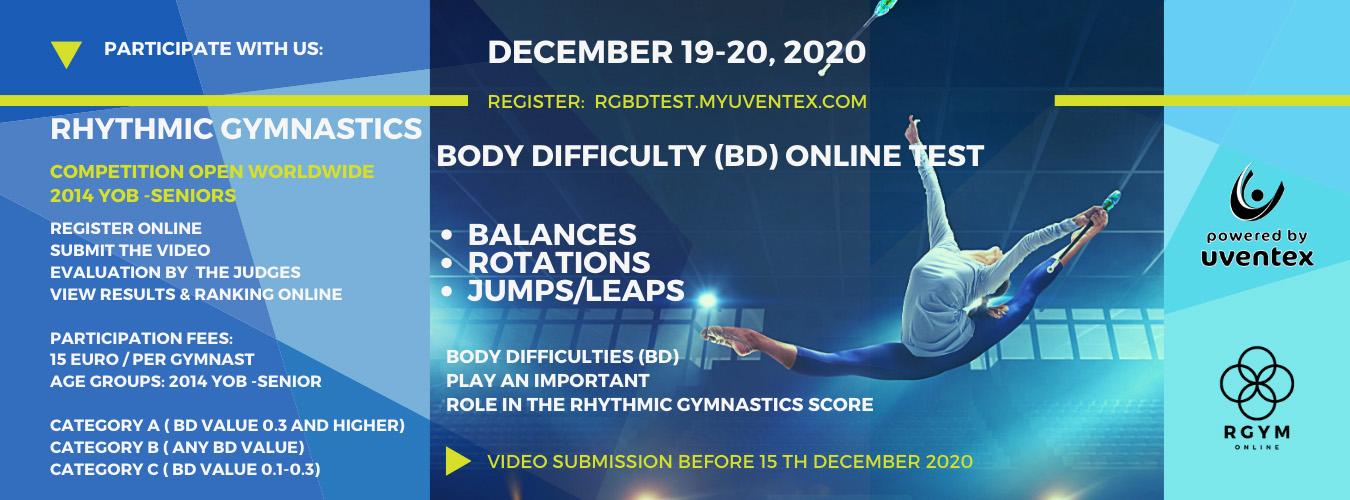 First Rhythmic Gymnastics Body Difficulty Online Test on 19-20 December 2020